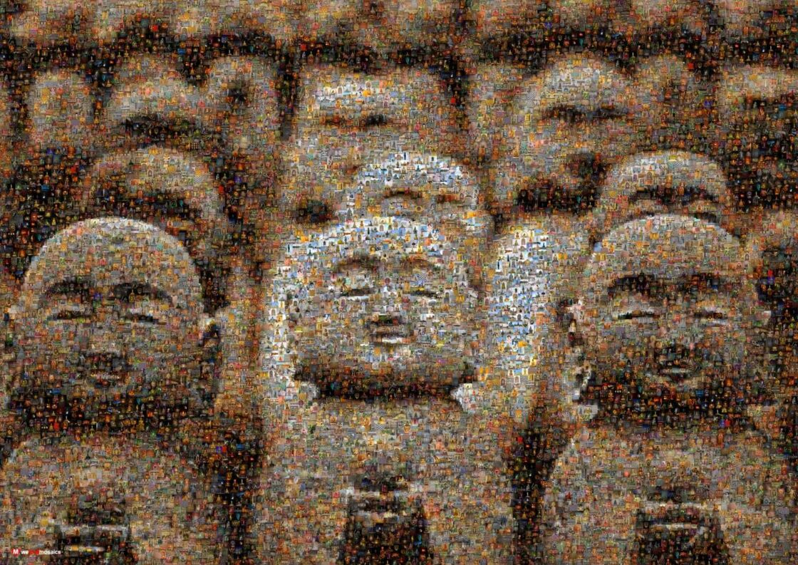 An amazing array of little Buddha statues with similar facial expressions!