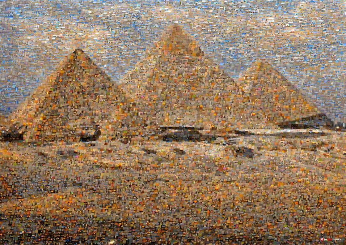 A breath taking trio just on sunset! The pyramids of Giza in Egypt.