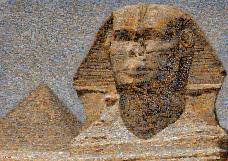 The Great Sphinx of Giza up close with the Great Pyramid in Giza in the distance.