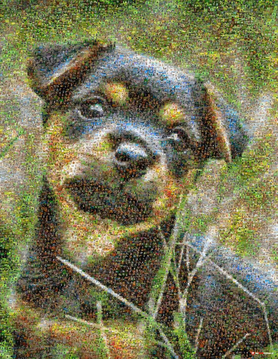 We just couldn't resist design a mosaic masterpiece around this too cute puppy!